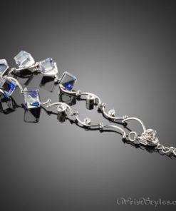 Blue Cube Crystal Charm Bracelet AZ186065CH 1