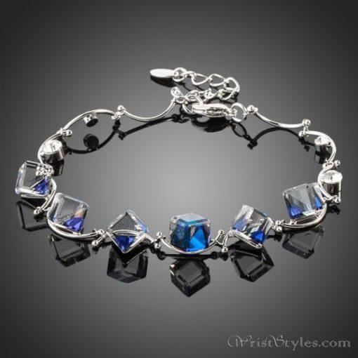 Blue Cube Crystal Charm Bracelet AZ186065CH