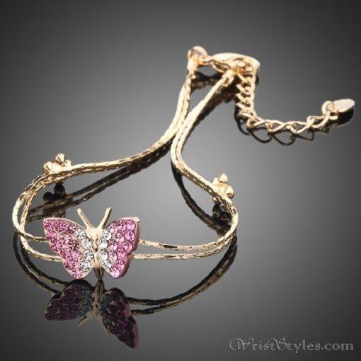 Butterfly and Flower Charm Bracelet AZ357933CH 1