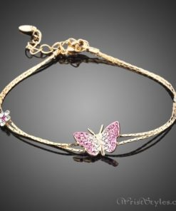 Butterfly and Flower Charm Bracelet AZ357933CH
