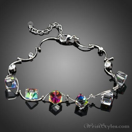 Colored Cube Charm Bracelet AZ007122CH