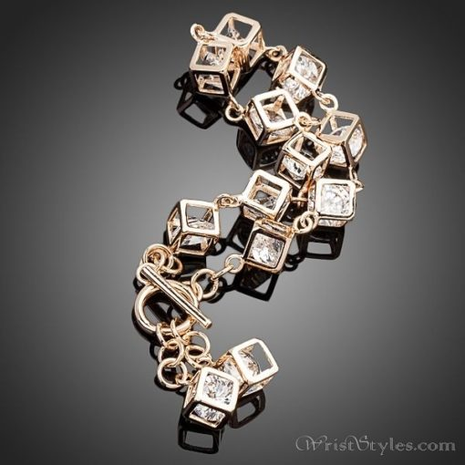 Cubed Crystal Charm Bracelet AZ613446CH 1