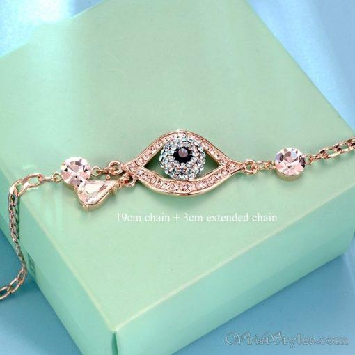 Evil Eye Austrian Rhinestones Rose Gold Bracelet UM401396BR 1