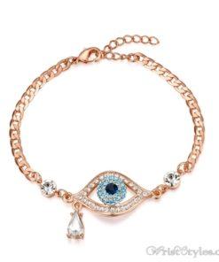 Evil Eye Austrian Rhinestones Rose Gold Bracelet UM401396BR 2