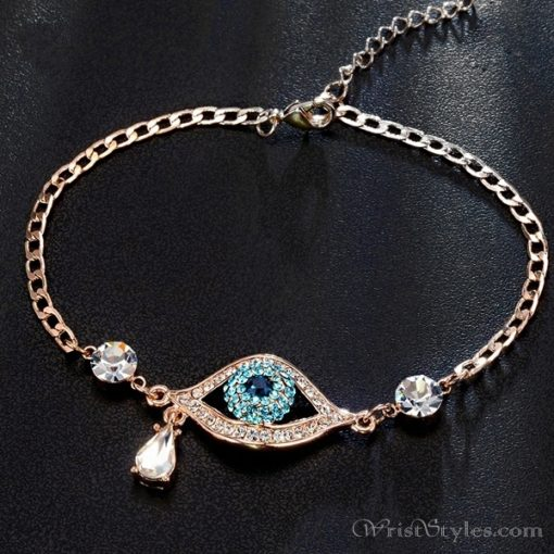 Evil Eye Austrian Rhinestones Rose Gold Bracelet UM401396BR