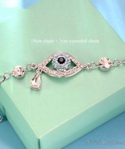 Evil Eye Austrian Rhinestones White Gold Bracelet UM093754BR 1