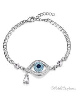 Evil Eye Austrian Rhinestones White Gold Bracelet UM093754BR 2