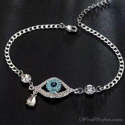 Evil Eye Austrian Rhinestones White Gold Bracelet UM093754BR