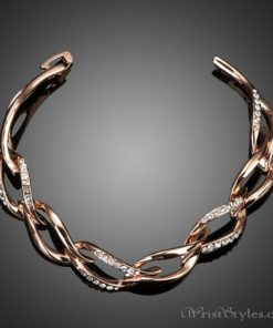 Rose Gold Plated Leaf Shaped Bracelet AZ214565BR 1