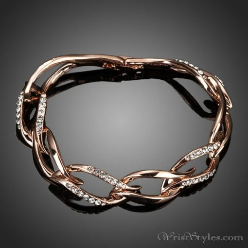 Rose Gold Plated Leaf Shaped Bracelet AZ214565BR