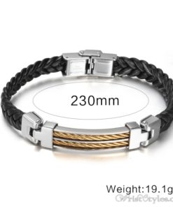 Black Leather Stainless Steel Wire Bracelet VN662275BR 2