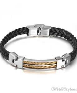 Black Leather Stainless Steel Wire Bracelet VN662275BR
