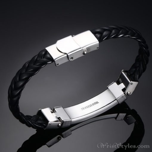 Black Leather Stainless Steel Wire Bracelet VN662275BR 4