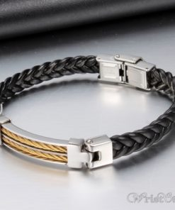 Black Leather Stainless Steel Wire Bracelet VN662275BR 7