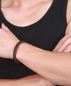 Braided Leather Bracelet VN243518BR 1