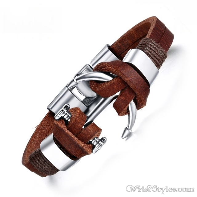 Brown Genuine Leather Anchor Bracelet Vn514934br 5