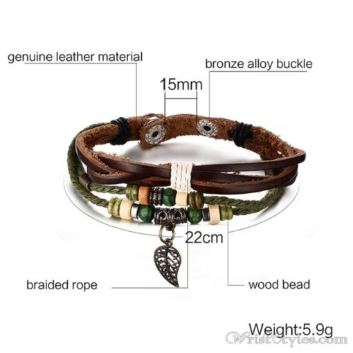 Genuine Leather Charm Bracelet VN036054CH 11