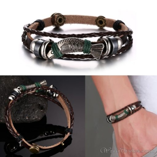 Genuine Leather Charm Bracelet VN036054CH 9