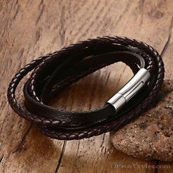 Multi Strand Braided Leather Bracelet VN901962BR