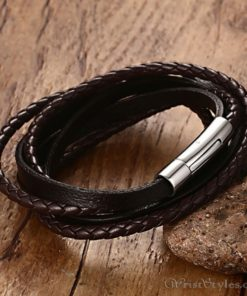 Multi Strand Braided Leather Bracelet VN901962BR