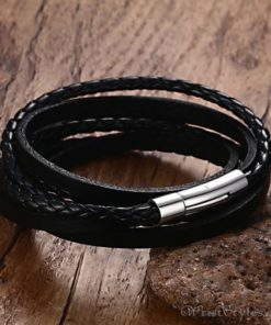 Multi Strand Braided Leather Bracelet VN901962BR 7