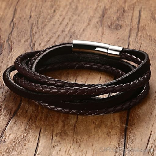 Multi Strand Braided Leather Bracelet VN901962BR 8
