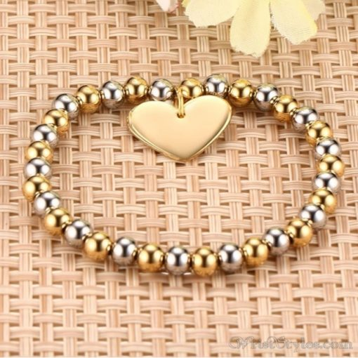 Beaded Gold Plated Heart Charm Bracelet VN039630CH 1