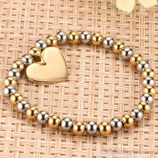 Beaded Gold Plated Heart Charm Bracelet VN039630CH 3