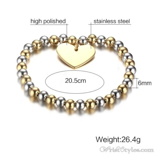 Beaded Gold Plated Heart Charm Bracelet VN039630CH 4