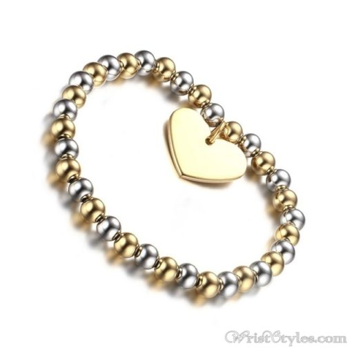 Beaded Gold Plated Heart Charm Bracelet VN039630CH