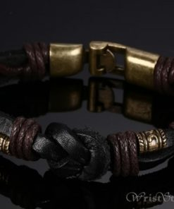 Bronze Alloy Buckle Leather Bracelet VN335010LB 1