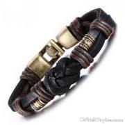 Bronze Alloy Buckle Leather Bracelet VN335010LB