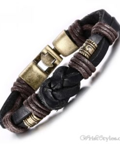 Bronze Alloy Buckle Leather Bracelet VN335010LB