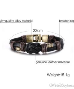 Bronze Alloy Buckle Leather Bracelet VN335010LB 4