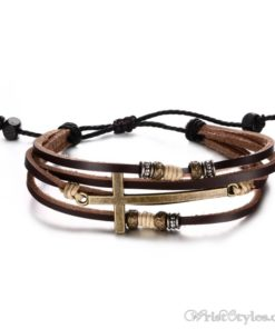 Genuine Leather Cross Bracelet VN032447BR 2