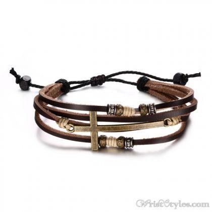 Genuine Leather Cross Bracelet VN032447BR 2