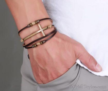 Genuine Leather Cross Bracelet VN032447BR 3