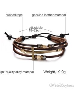Genuine Leather Cross Bracelet VN032447BR 4