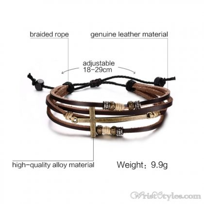Genuine Leather Cross Bracelet VN032447BR 4