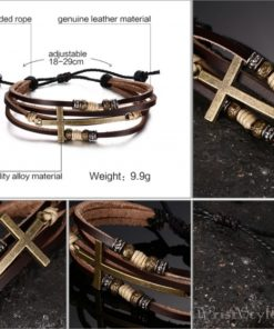 Genuine Leather Cross Bracelet VN032447BR 5