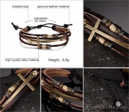 Genuine Leather Cross Bracelet VN032447BR 5