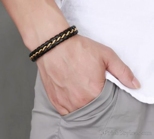 Leather And Wire Bracelet VN000270BR 1