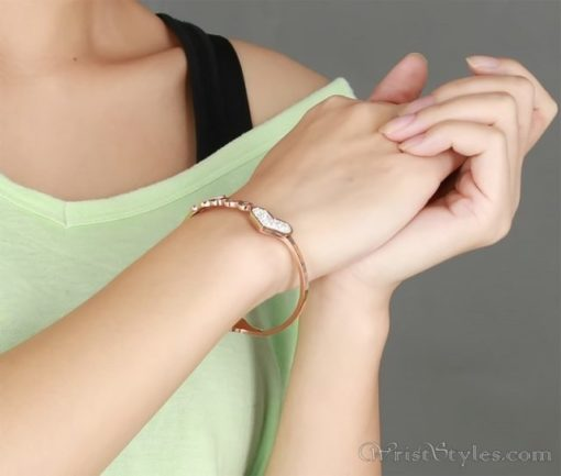Rose Gold Love And Heart Bangle VN401370BA 1