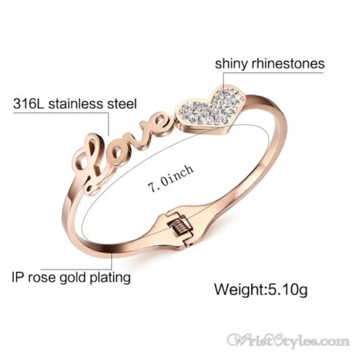 Rose Gold Love And Heart Bangle VN401370BA 2