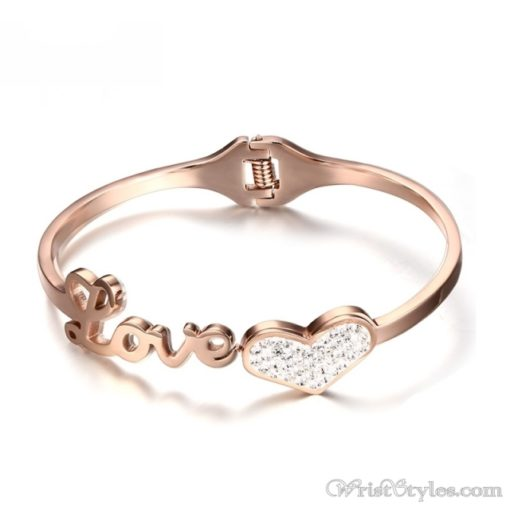 Rose Gold Love And Heart Bangle VN401370BA