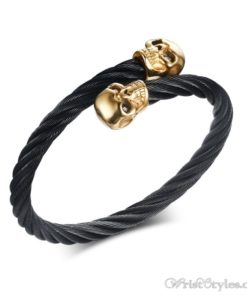 Skull Twisted Wire Cable Bracelet VN963228BR 1