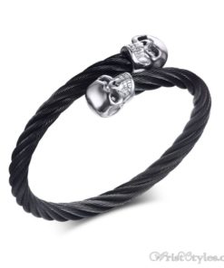 Skull Twisted Wire Cable Bracelet VN963228BR 2