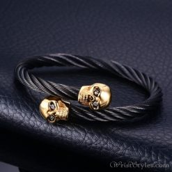 Skull Twisted Wire Cable Bracelet VN963228BR
