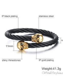 Skull Twisted Wire Cable Bracelet VN963228BR 3