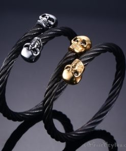 Skull Twisted Wire Cable Bracelet VN963228BR 4